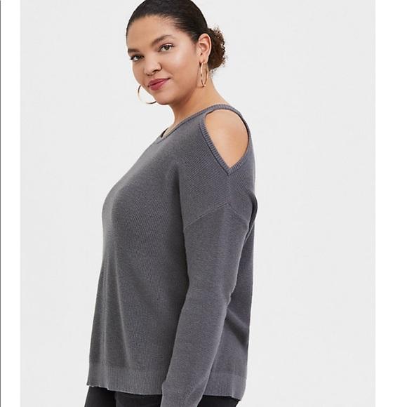 NWOT Torrid Grey Cold Shoulder Sweater